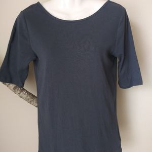 GAP Scoop Back Gray Blue Top Medium